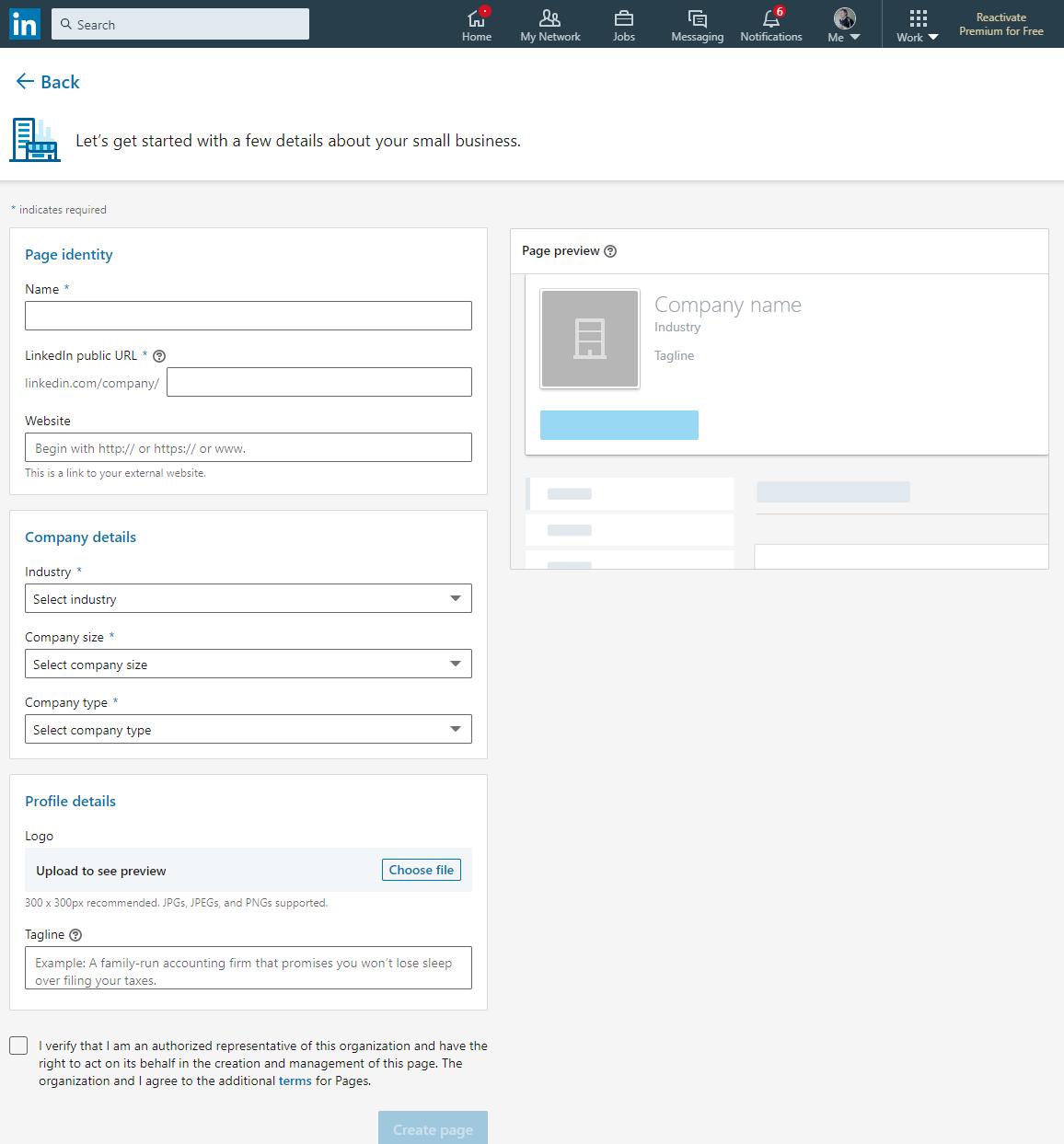Create a LinkedIn Company Page