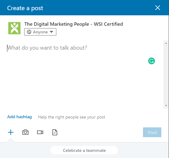 LinkedIn Company Page Create Create A Post