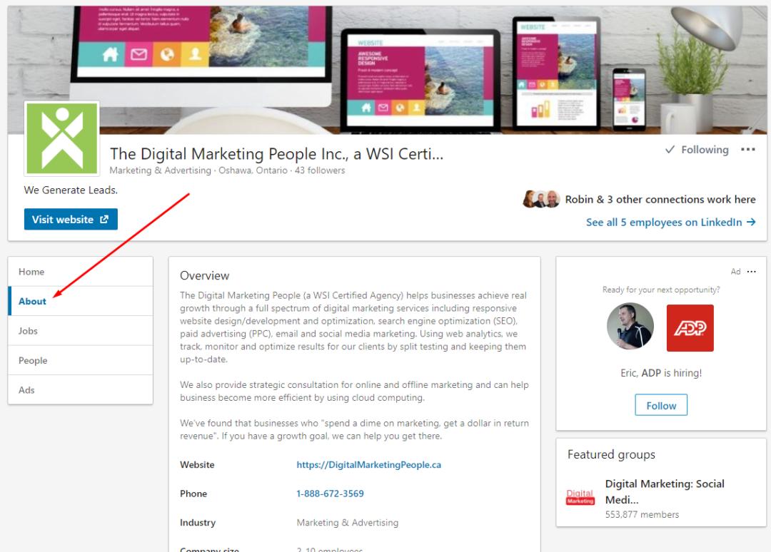 LinkedIn Company Page About
