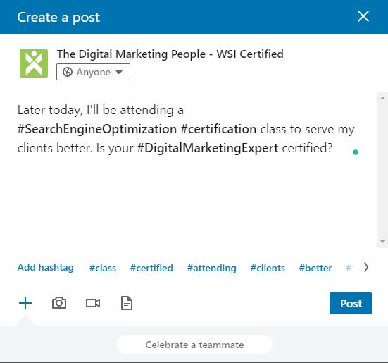 LinkedIn Company Page Hashtags