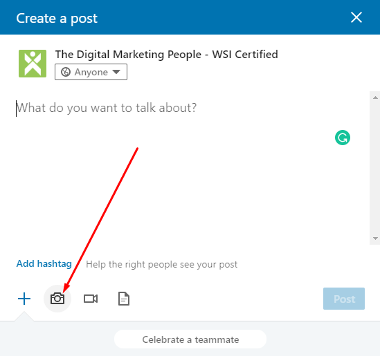 LinkedIn Company Page Create An Image Post