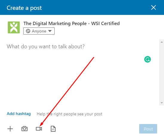 LinkedIn Company Page Create Video Post