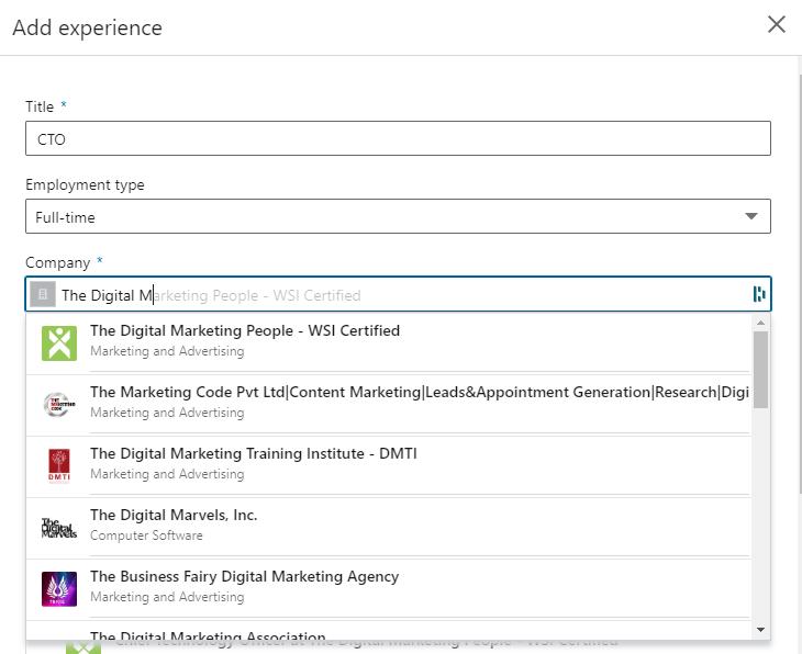 LinkedIn Company Page Add Experience