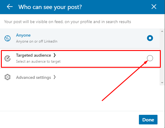 LinkedIn Company Page Toggle Post Target Audience