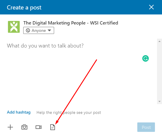 LinkedIn Company Page Create Document Post