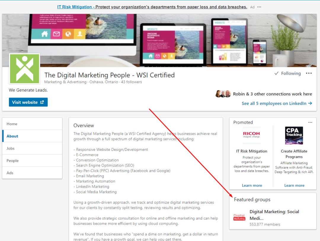 LinkedIn Company Page Featured Groups